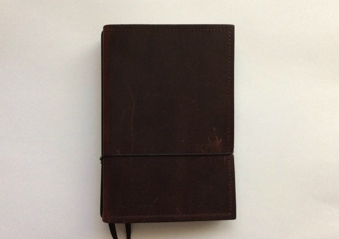 Front of X17 notebook cover in chestnut brown